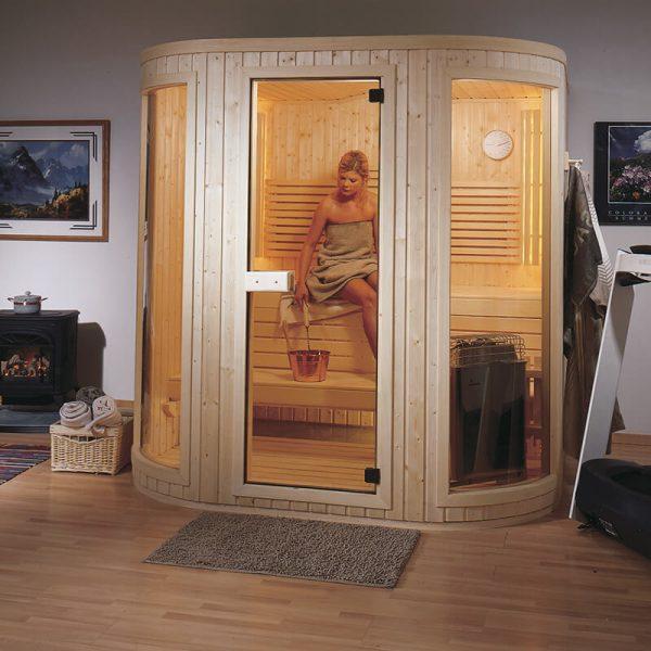 finnleo sauna woman inside